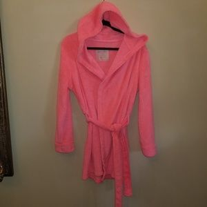 WOMEN'S SZ S CORAL COLOR HOODED ROBE